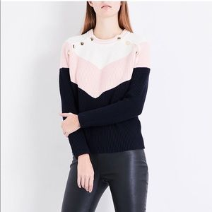 MAJE Mariana Color Block Sweater In Pink, Navy and White